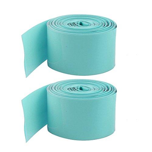 sourcingmap® 5Stk 18650 Akku 29,5 mm Teal PVC Hitze Shrinkable Schläuche Wrap Hülse 2M lang (29.5 Ärmel)