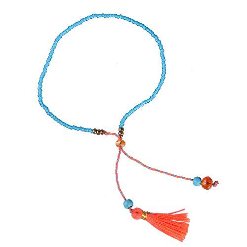 KELITCH Schmuck Blau Perlen Kette Kristall Stein Dünn Seil Armband Freundschaftsarmbänder mit Orange Quaste