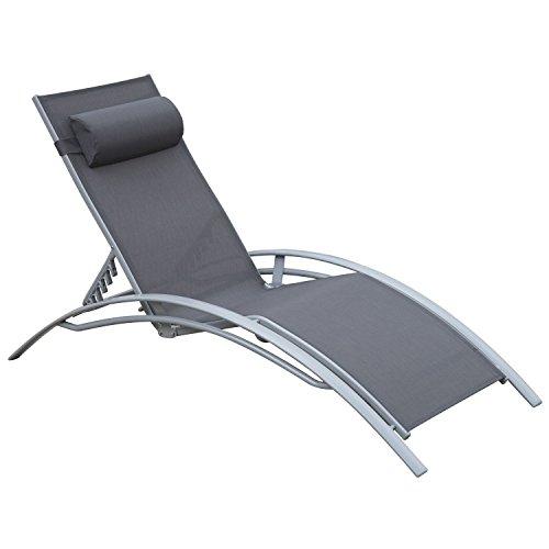 Outsunny Sonnenliege Gartenliege Gartenstuhl Relaxsessel Liegestuhl Aluminium, grau - 2