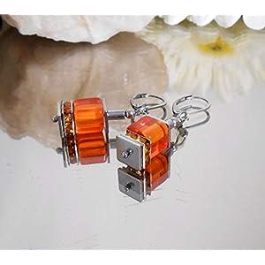 Glas Würfel Ohrhänger orange + Strass + Hämatit + Edelstahl Brisur / A026o