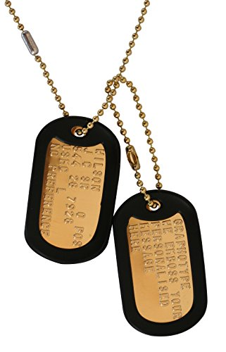 Messing: 2 personalisierten Erkennungsmarken im Armeestil mit Kugelkette & Schalldämpfern (Militärische Personalisierte Dog Tags)