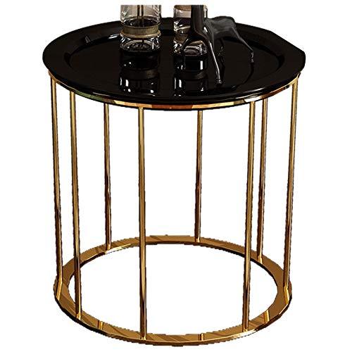 Côté canapé/Table Basse/côté Post-Moderne, Mobilier créatif Moderne en Bois, Rond, Noir (50 × 50 × 55,5 cm)