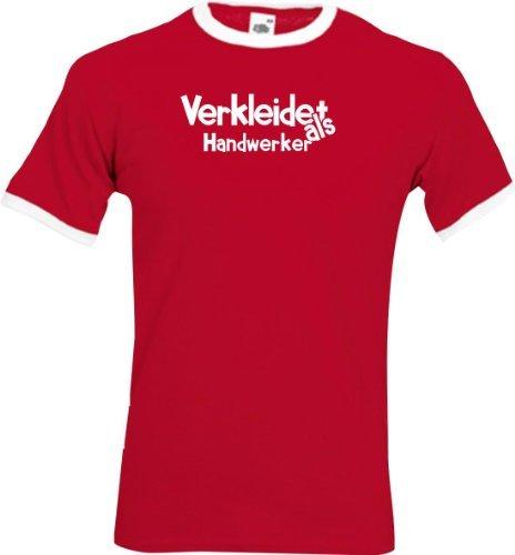 Ringer Shirt Karneval Verkleidet als Handwerker Fasching Kostüm Verkleidung,Farbe rot-weiss, Größe L (Kostüm T-shirt Ringer)