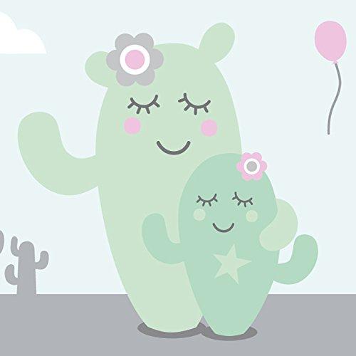 Preisvergleich Produktbild anna wand Bordüre selbstklebend FAMILY CACTUS - Wandbordüre Kinderzimmer / Babyzimmer mit Kaktus & Kakteen verschiedene Farben - Wandtattoo Schlafzimmer Mädchen & Junge, Wanddeko Baby / Kinder
