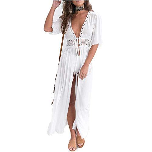 mama stadt Damen Spitze Bohemian Strandkleider für Damen Sommer Beach Wear Weiß Lange Kimono Mantel Bikini Bademode Vertuschen Sexy -