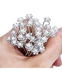 Ambey Jewelry Women's Fancy Crystal Rhinestone Flower Design Juda Pins for Bun Decoration - 20 Pieces(Multicolour)
