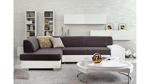 JUSTyou Mepol Canapé d'angle Sofa canapé lit Tissu structuré Cuir écologique (HxLxl): 73x268x167 cm Gris Blanc Angle gauche