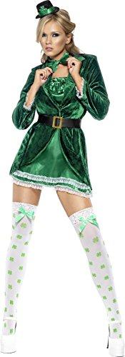 Smiffys, Fever, Damen St. Patrick's Tag Kostüm, Kleid, Hut, Fliege und Höschen, Größe: S, 30463