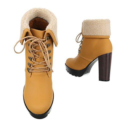Schnürboots Damen Schuhe Combat Boots Pump Schnürer Schnürsenkel Ital-Design Stiefeletten Camel