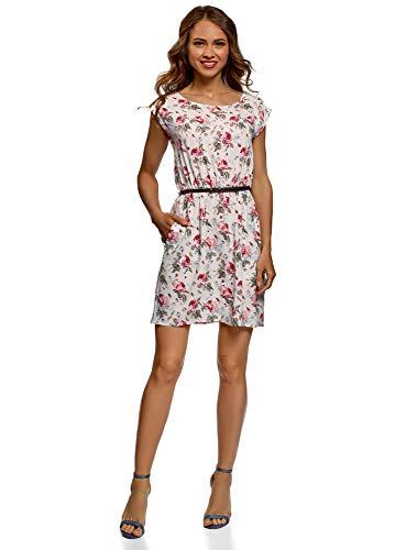 oodji Ultra Damen Viskose-Kleid mit Gürtel, Elfenbein, DE 36 / EU 38 / S Blume Kleid Kleider