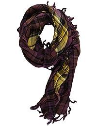 8cf5cf25b554 TigerTie foulard en lila doré jaune gris noir carreaux avec franges -  taille 100 x 100