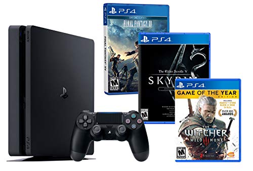 PS4 Slim 1Tb Konsole RPG PACK 3 Spiele inkl! The Witcher 3 + Final Fantasy XV + The Elder Scrolls V: SKYRIM Special Edition (Playstation 4 Gta 5 Edition)