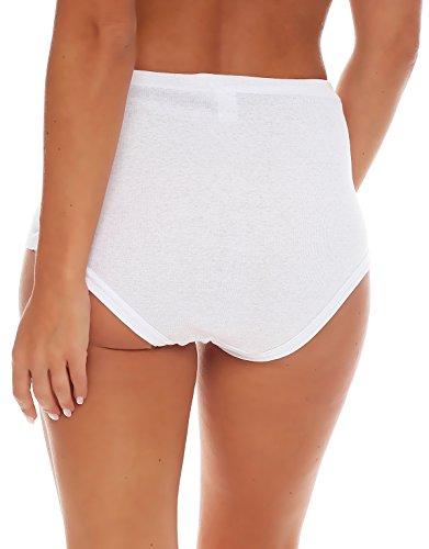4er, 8er, 16er oder 24er Pack Damen Slip weiß aus 100% Baumwolle ohne Seitennaht - hoch geschnitten - glatt weiss - Grössen 40/42 bis 56/58 24 Stück weiss