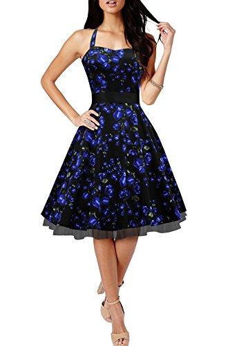 BlackButterfly 'Rhya' Vestido Vintage De Los Años 50 Harmony (Rosas Azules, ES 36 - XS)