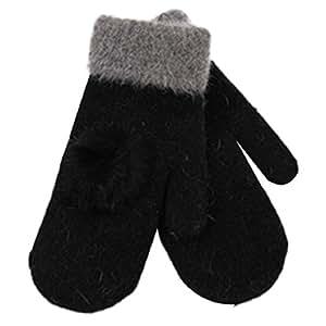 Amison Fiori di canapa universale popolare senza dita a maglia guanti lunghi(Nero)