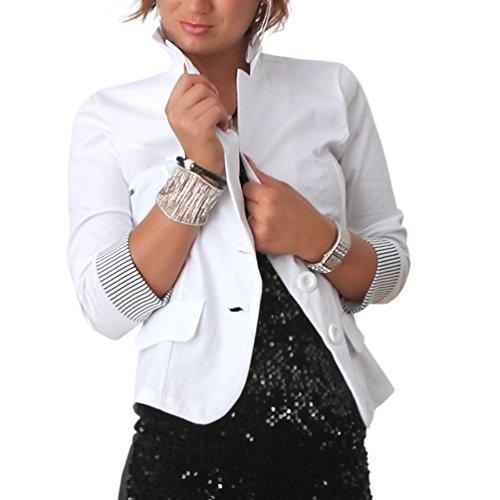 B101 Blazer 3/4 Streifen Ärmel Jacke Business Büro Jäckchen Party Freizeit (M/38, Weiss) (Blazer Kleid Jacke)