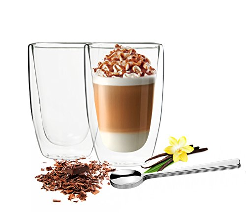 Sendez 2 Doppelwandige Latte Macchiato Gläser 450ml mit 2 Edels...