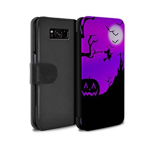 Stuff4® PU-Leder Hülle/Case/Tasche/Cover für Samsung Galaxy S8/G950 / Kürbis/Hexe Muster/Halloween Szene Kollektion