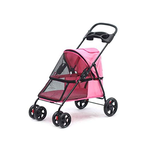 GZQDX Pet Stroller, 4-Rad-Doppel Pet Kinderwagen for Hunde und Katzen, groß for Twin oder Multiple Pet Travel (Color : Pink)
