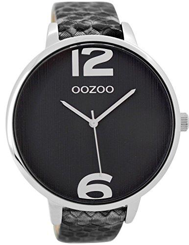 Oozoo Damenuhr Silber/Schwarz 48 mm C9240