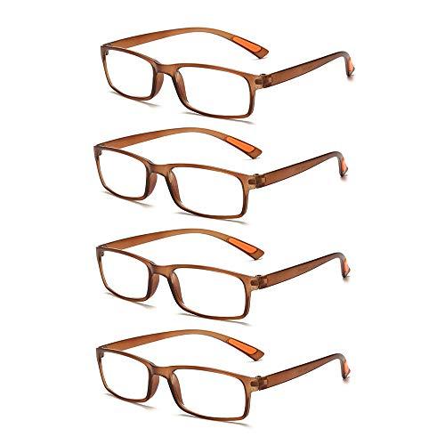 Admier 4 * Packungen Biegbare Lesebrille entfernt Presbyopie-Brillen +1,0 bis + 3,5 Grad Flexible Qualitätslinsen mit 7 Linsenstärken,+2.50