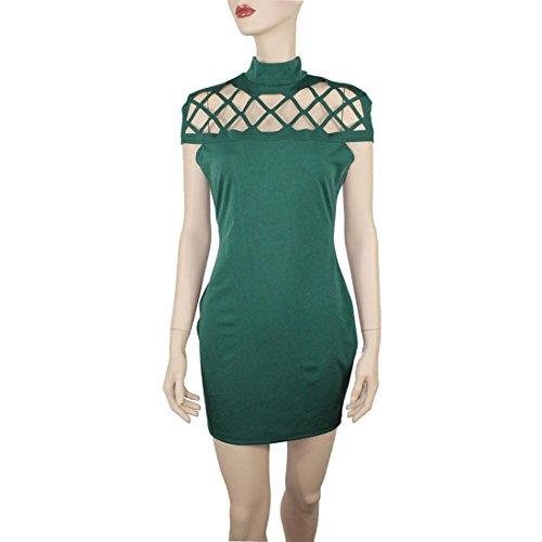 Oyedens Donna Gonna Moda Vestito Collare Collo Alto Bodycon Signore In Gabbia Maniche Mini Vestito Verde