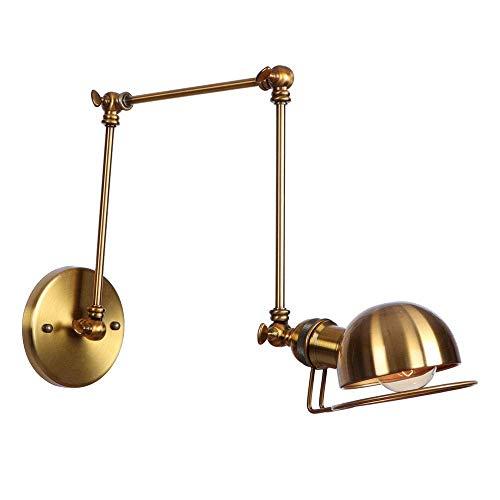 Q&N Retro verstellbare Wandbeleuchtung Schmiedeeisen Langen Arm Wand Lampe Swing Arm Wandhängen Lampe Lampe Halter Gold (Swing-lampe Wand)