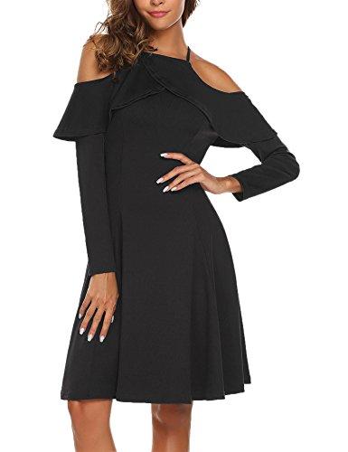 Meaneor Damen Elegant Retro Vintage Rockabilly Kleid Abendkleid Cocktailkleid Parytkleid Schulterfrei Swing A linie Knielang Black