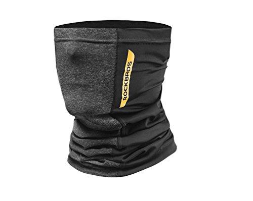 Hysenm rockbros scaldacollo, per collo e viso, per ciclismo, upf50+, donna, nero/grigio.
