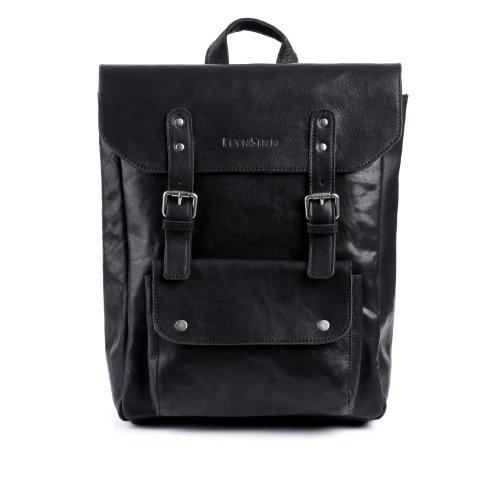 FEYNSINN Rucksack dünn PHOENIX - Unisex Lederrucksack groß Lederrucksack 14 Zoll Laptop - Backpack im Vintage-Look Damen Herren echt Leder schwarz