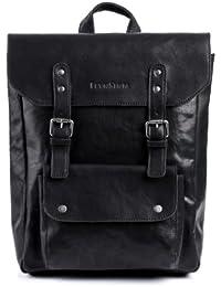 """FEYNSINN sac à dos mince PHOENIX - sac à dos en cuir approprié pour 14"""", iPad style Vintage - backpack noir en cuir véritable"""