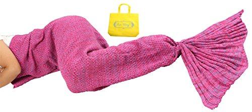 Sun Cling Meerjungfrauenschwanz-Decke gehäkelt, für Erwachsene, Teenager, Kinder, Wohnzimmer, Schlafzimmer, Sofa, super weiche Decken, Schlafsäcke 70.7x35.4 Rose