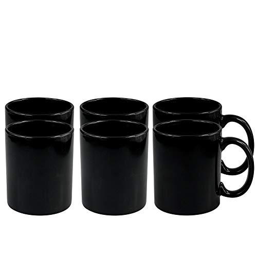 Werbewas 6er Set Schwarze Keramik Kaffeetassen ohne Druck - zum bemalen und basteln geeignet -...