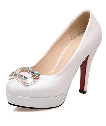 AllhqFashion Femme à Talon Haut Mosaïque Tire Matière Souple Rond Chaussures Légeres Blanc