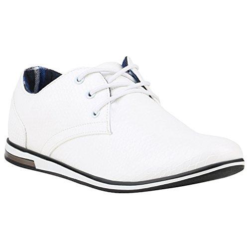Herren Halb Business Veloursleder-OptikKlassische Schnürer Denim Lochung Geflochten Schuhe 142374 Weiss Cabanas 43 Flandell