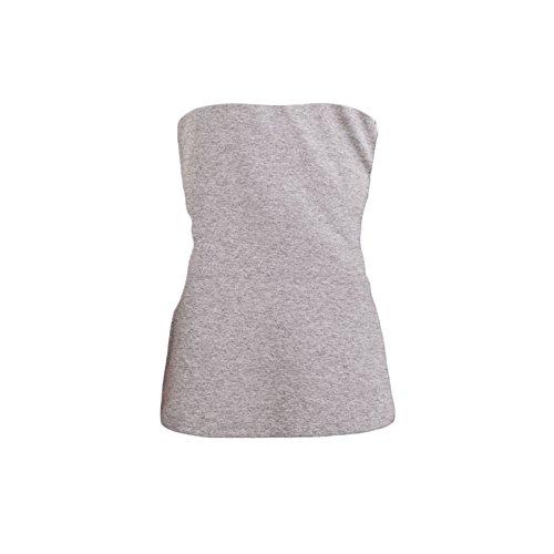 Toocool - Top maglia maglietta donna tube tubo bustino bustier corpetto jersey CC-442 Grigio Chiaro Melange