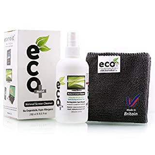 Ecomoist Natural Screen Cleaner 250ml with Fine Microfiber Towel For LCD TFT Plasma Computer Laptop Mobile Touch Screen Tablet Eco Friendly Green Product Kills 99.99% Germs Made in UK