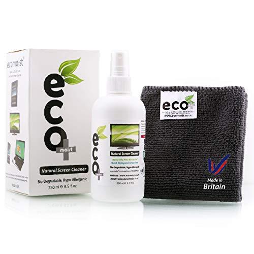 Ecomoist Bildschirmreiniger 250ml Komt mit Mikrofaser Handtuch, Naturprodukt ohne Chemikalien Grünes Produkt