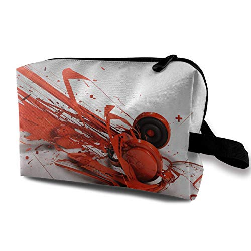 Travel Cosmetic Bag Abstract Red Headphone Pattern Lady Make-up Organizer Clutch Bag with Zipper Toiletry Storage Pouch -
