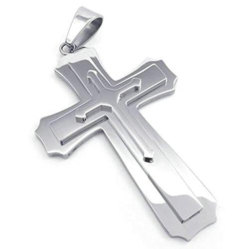 Daesar Acciaio Inossidabile Uomo Ciondolo Collana Large 4.1CM Polished Croce Pendenti Di Collana Argento 18-26 Pollice