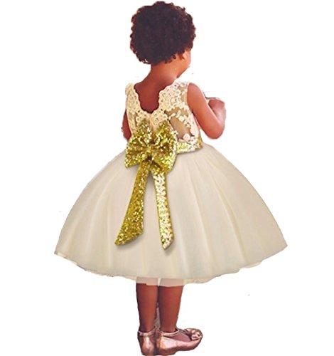 FREEFLY 0-5 Jahre Kleinkind Baby Mädchen Pailletten Bowknot Floral Sleeveless Spitze Prinzessin...