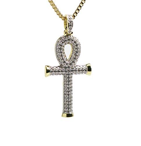 Ts Verniel Lab Simuliert Diamant 14K Ägyptisches Anch Key of Life Kreuz Anhänger Halskette