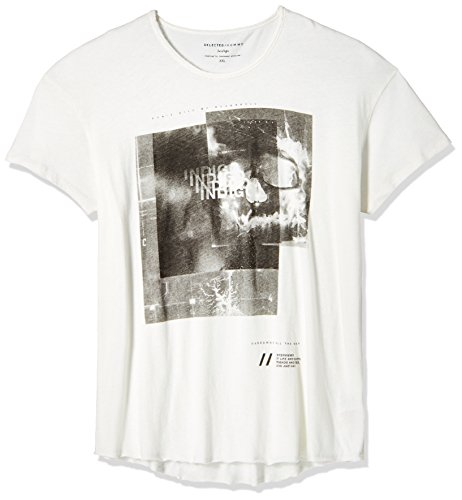 SELECTED HOMME Herren T-Shirt SHNDITCH SS O - NECK TEE, Gr. X-Large, Elfenbein (Marshmallow Man Outfit)