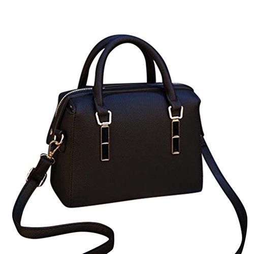 b25fe77d94d97 Baymate Damen Elegant PU Leder Handtaschen Groß Kapazität Umhängetasche  Tote Schultertaschen Schwarz