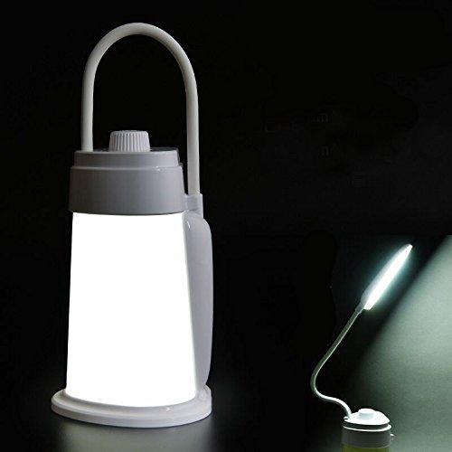Lampe de lecture LED convertible et lanterne de camping, lampe de bureau lumière de nuit de chevet avec la lumière blanche douce et chaude, cou flexible, luminosité réglable, rechargeable, convient pour une lumière de tente Jaune