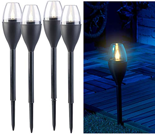 Lunartec Solar Fackeln: 4er-Set Solar-Akku-Gartenfackeln, LED in Flammen-Optik, Flackerlicht (Solar Gartenfackel)