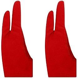Artista guante para gráfico Tablet, pack de 3libre tamaño guantes de nylon para dibujo, nailon, Rojo, Small