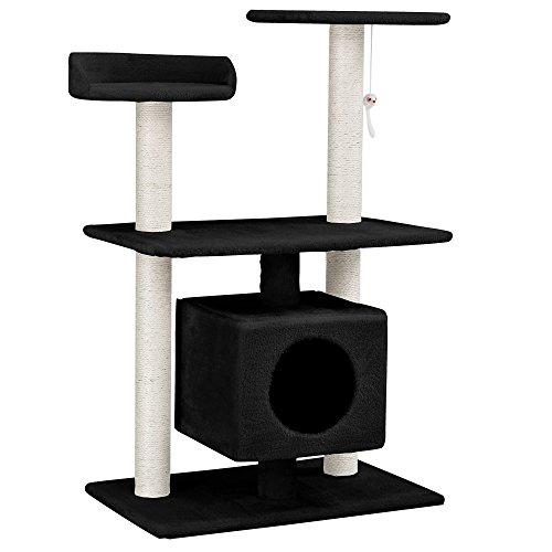 katzeninfo24.de [en.casa] Katzen Kratzbaum [ca. 60 x 40 x 95 cm][schwarz] Kuschelhöhlen / Aussichtsplatformen / Sisal / mit vielen Spiel – und Kuschelmöglichkeiten