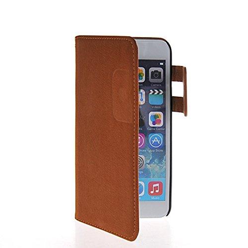 MOONCASE Housse de Protection Coque en Cuir Portefeuille Étui à rabat Case pour Apple iPhone 6 Plus Brun Brun 01