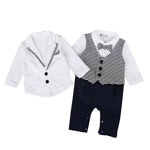 YOUJIA 2pcs Neonati Bambino Ragazzi Signori pagliaccetto + Giacche Coat maniche lunghe Wedding Tuxedo Smoking Abiti Battesimo (Bianco, 70)